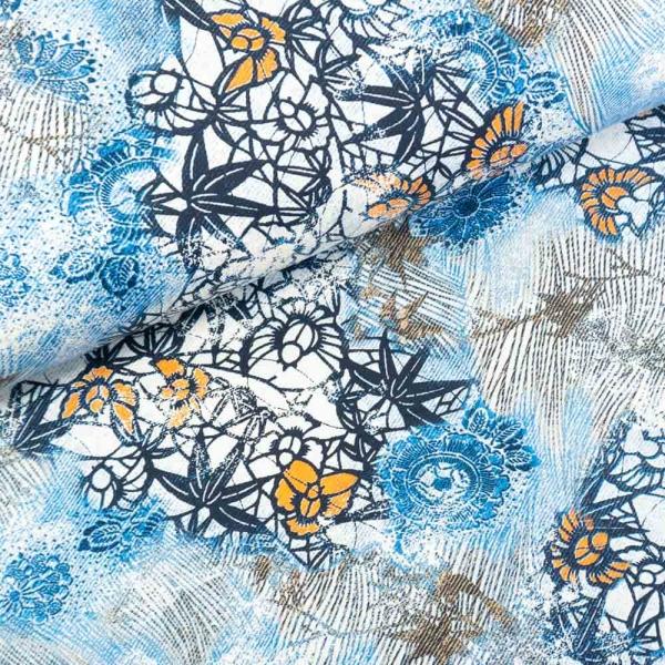 Baumwoll-Gabardine Stretch Jeanslook Flowers jeansblau hell