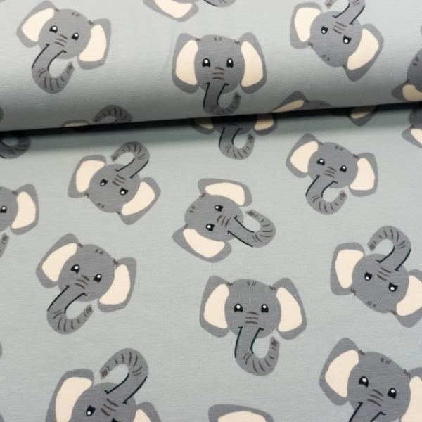Baumwolljersey Elefanten grau