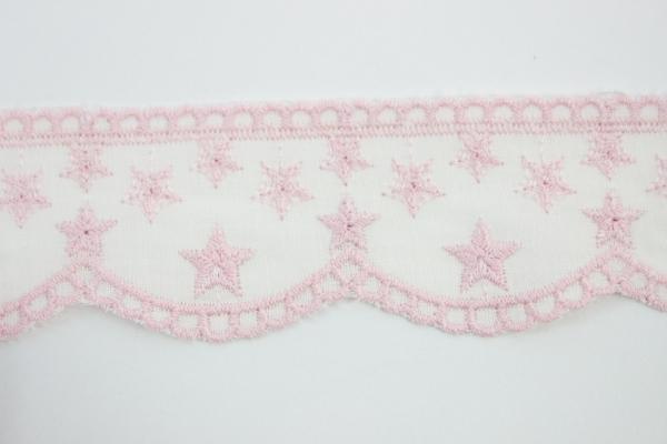 Bestickte Baumwoll Borte Sterne rosa 5cm Ökotex 100