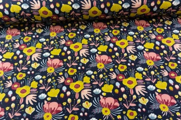Bio-Baumwolljersey Flowers navy Ökotex 100