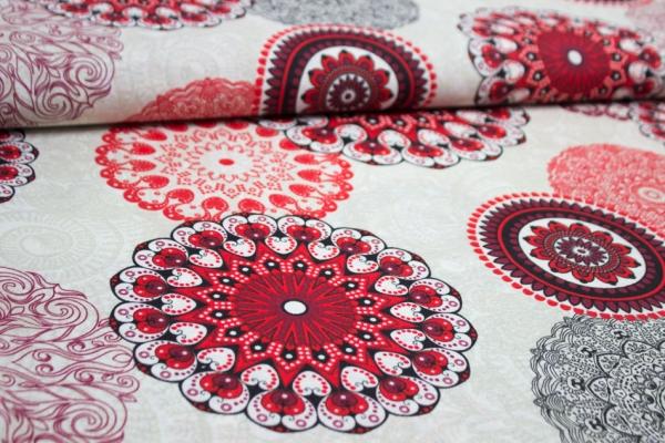 Beschichteter Canvas Mandala natur-rot 100% Baumwolle Ökotex 100