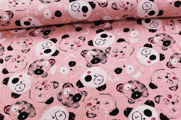 Baumwolljersey Pandabärchen rosa meliert Öko Tex 100
