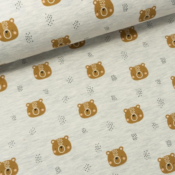 Baumwolljersey Little Bear MELANGE ecru