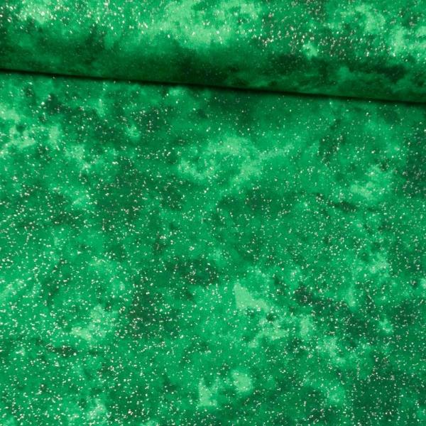 Baumwollwebware Christmas Tie Dye Glitzer grün