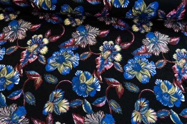 Viskosejersey Black Rose schwarz-beere-blau Ökotex 100