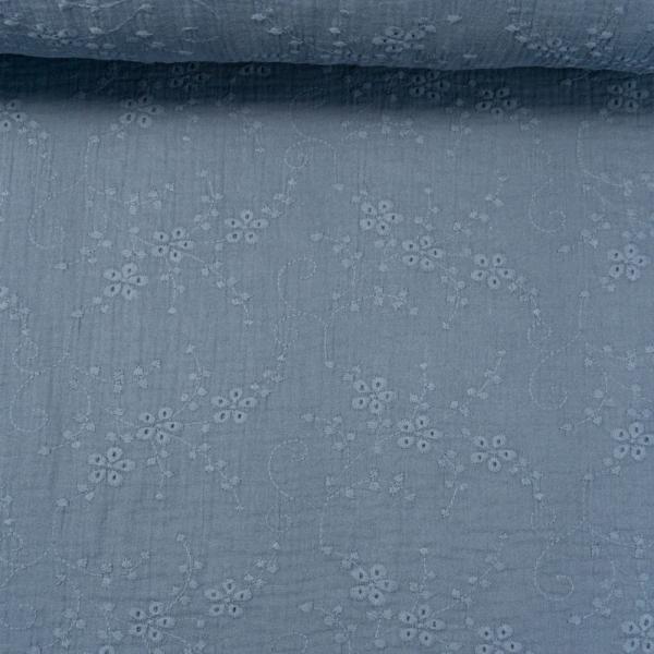 Musselin Double Gauze Rankenstickerei jeansblau