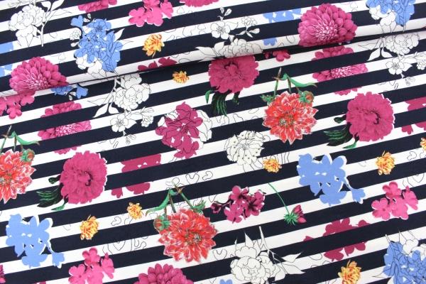 Viskosejersey Blüten auf Streifen navy-weiß Ökotex 100
