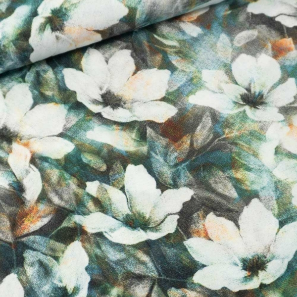 Viskosewebware Blossoms grau