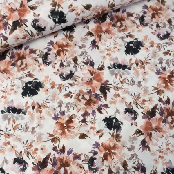 Baumwollwebware Painted Flowers weiß