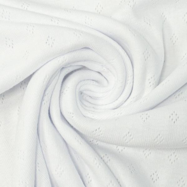 Baumwoll Lochstrick Jersey weiß