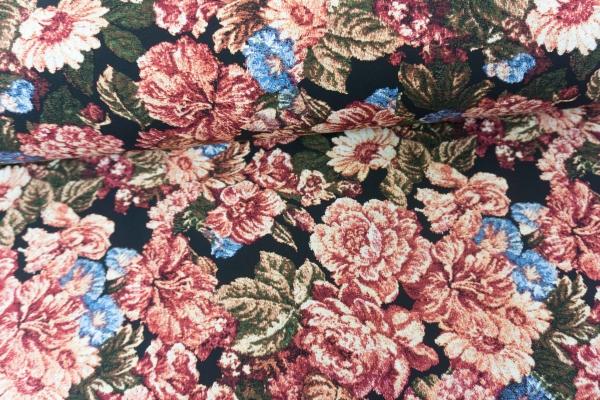 Viskose Blumen schwarz - khaki - rot Ökotex 100