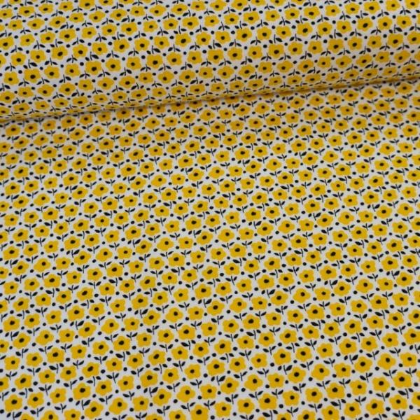 Baumwollwebware Italienische Kollektion Babyblumen gelb Ökotex 100