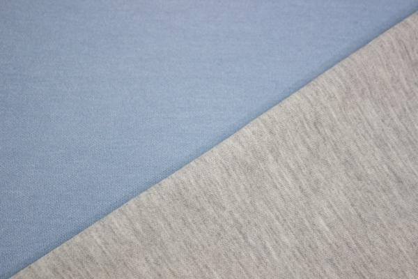 Baumwollsweat Doubleface blau-hellgrau meliert Öko Tex 100