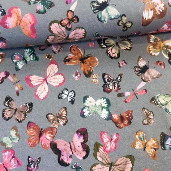 Bio-Sweat French Terry Butterflies grau Ökotex 100