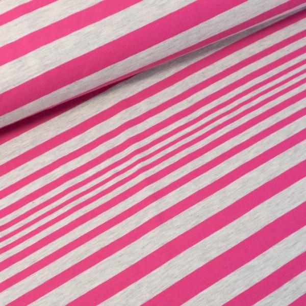 Baumwolljersey Stripes hellgrau meliert-pink