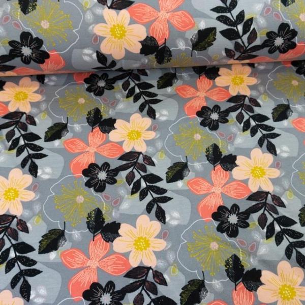 BIO Soft Sweat angeraut Floral grau