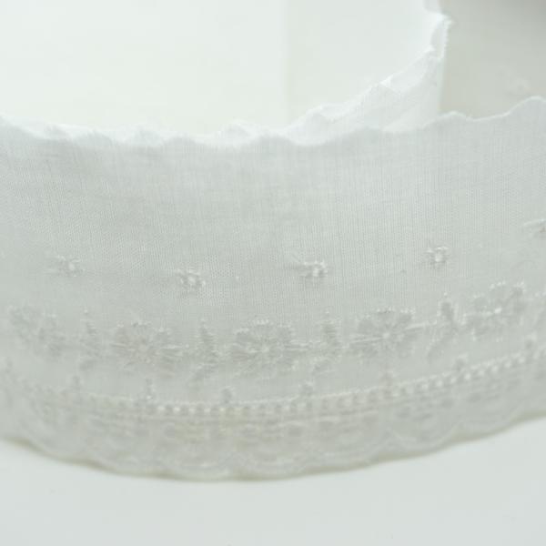 Baumwoll Spitzenborte Rosenranke weiß 4cm