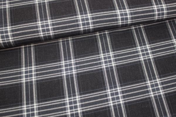 Blusenstoff Check Helsinki elastisch schwarz-weiß Ökotex 100