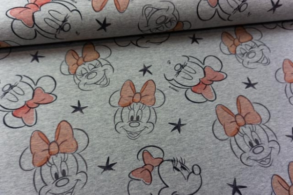 Sweat unangeraut WALT DISNEY Minnie Mouse grau meliert - rose Ökotex 100y