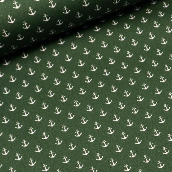 Baumwollwebware Mini Anker tannengrün