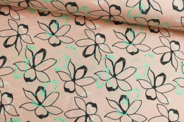 Sweat unangeraut Pastellblume rose Ökotex 100