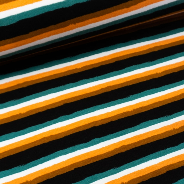 Sweat French Terry Retro Stripes schwarz