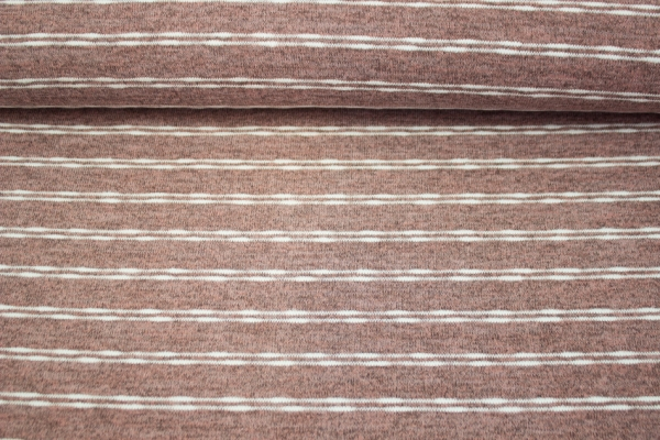 Strickjersey Stripes melange altrosa Ökotex 100
