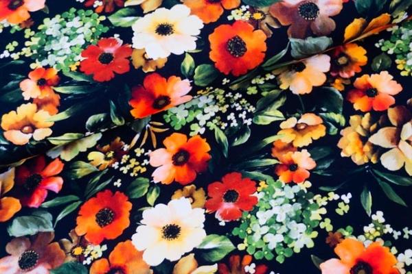 Baumwolljersey DIGITAL Flower Art schwarz Ökotex 100