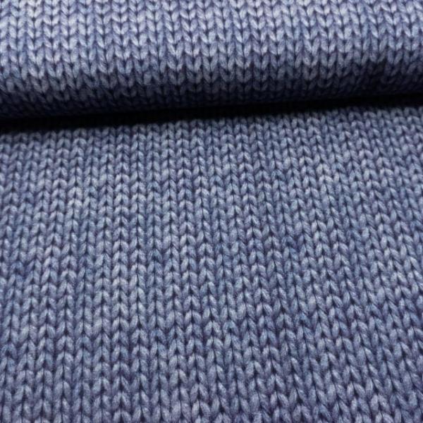 BIO Sweat angeraut Digital Knitlook jeansblau dunkel
