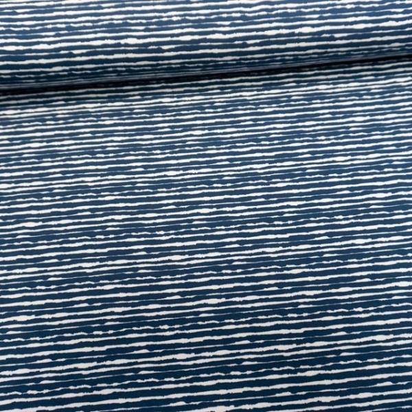Baumwolljersey Unregular Lines jeansblau dunkel