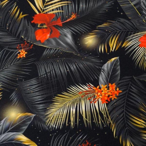Bio-Baumwolljersey Shining Flowers schwarz-gold-rot