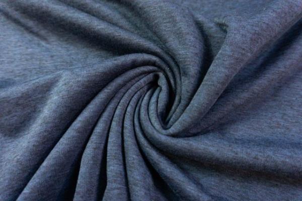 Wellness Jersey-Sweat angeraut jeansblau meliert Ökotex 100