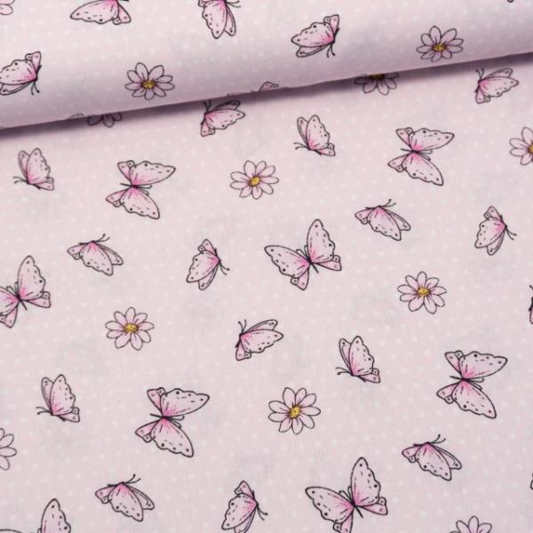 Baumwollwebware Schmetterlinge Rosa
