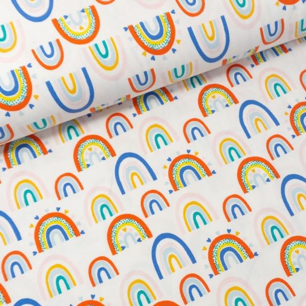 Baumwolljersey Regenbogen weiß