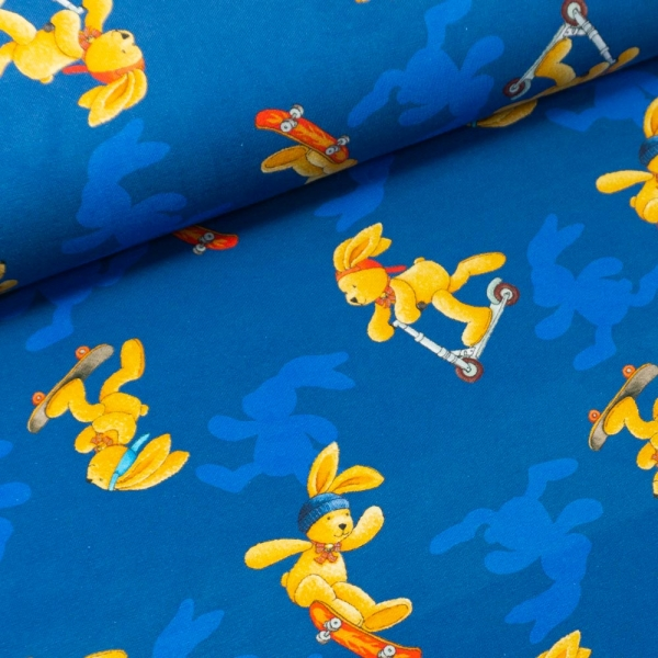 Baumwolljersey Digital Felix der Hase jeansblau