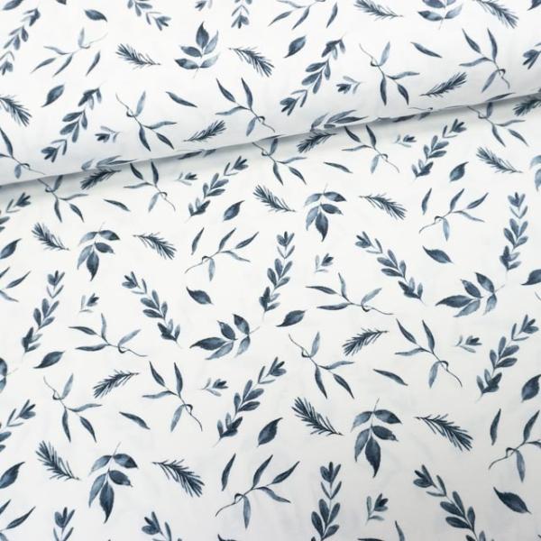 Baumwolljersey Aquarell Blätter ecru-jeansblau