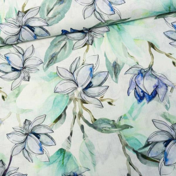 Premium Leinen Digital Springflowers dusty mint