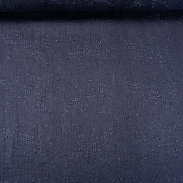 Musselin Double Gauze Rankenstickerei navy