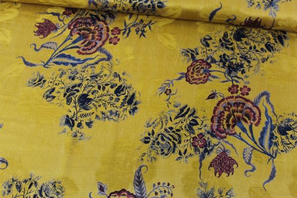 Viskose Seidenweich Japan Flower senf Ökotex 100
