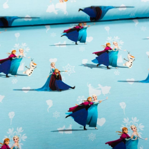 Baumwolljersey Frozen Anna & Elsa eisblau