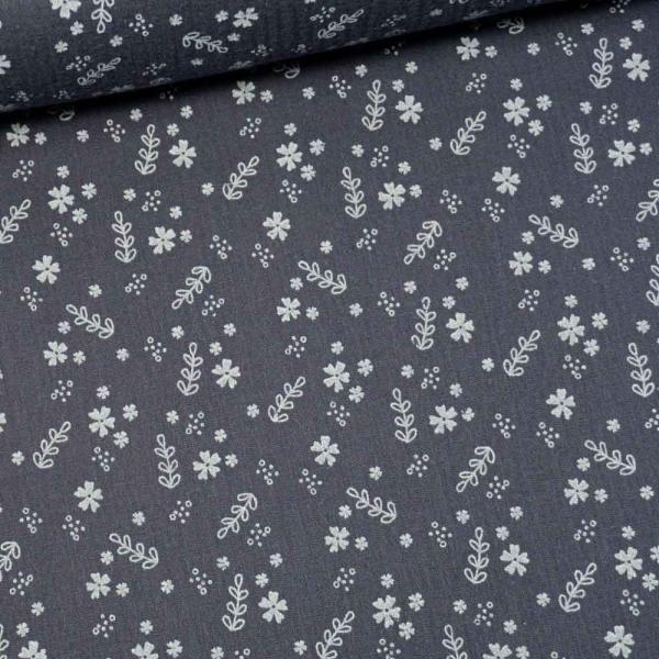 Musselin Double Gauze Millefleurs navy-grey