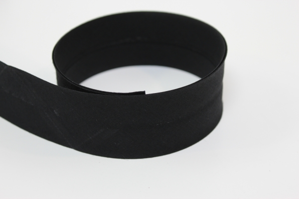 Schrägband 2cm oder 4cm breit vorgefalzt schwarz Ökotex 100