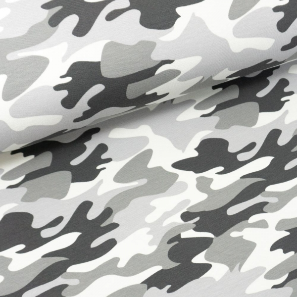 Sweat French Terry Camouflage grau