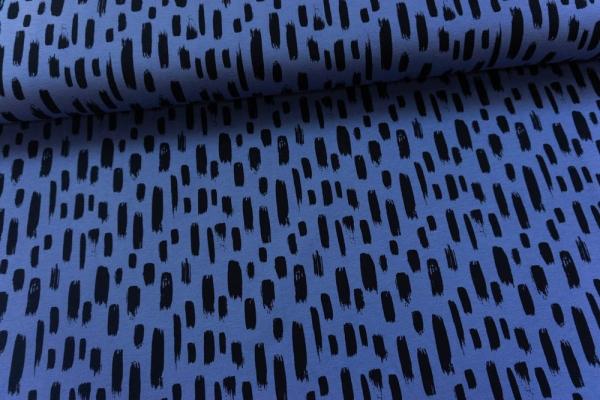 Baumwolljersey Pinselstriche jeansblau Ökotex 100