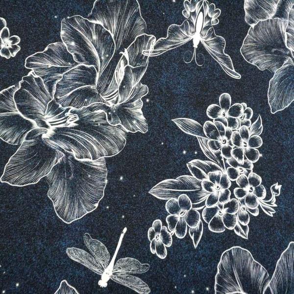 Bio-Baumwolljersey Linear Flower Melange navy
