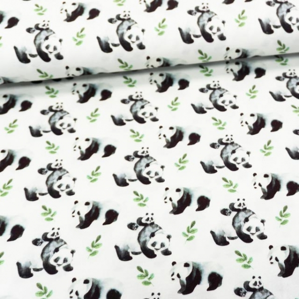 Baumwolljersey Digital Lovely Pandas ecru