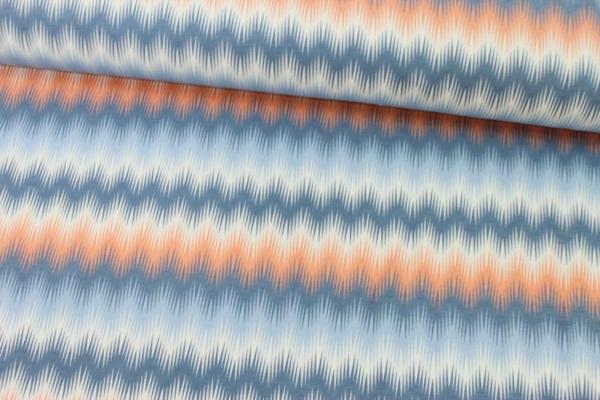 Baumwolljersey Zig Zag hellblau-dunkelblau Öko Tex 100
