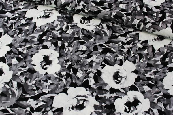 Leinen Roses black and white Ökotex 100