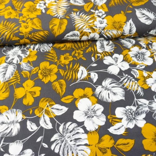 Viskosewebware Hawaii Flowers dunkelgrau