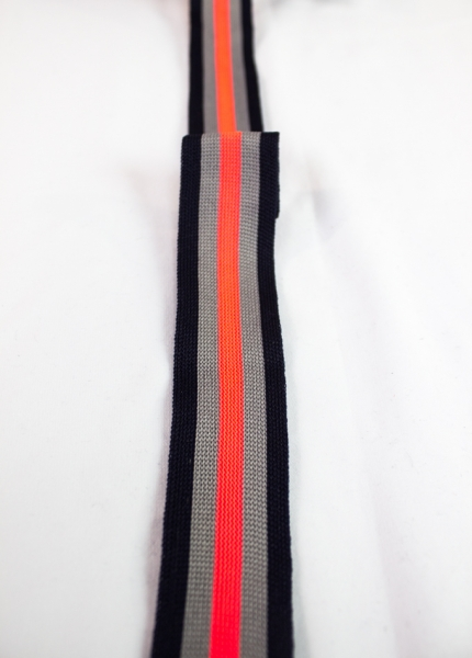 Galonband navy-grau-neon orange Ökotex 100